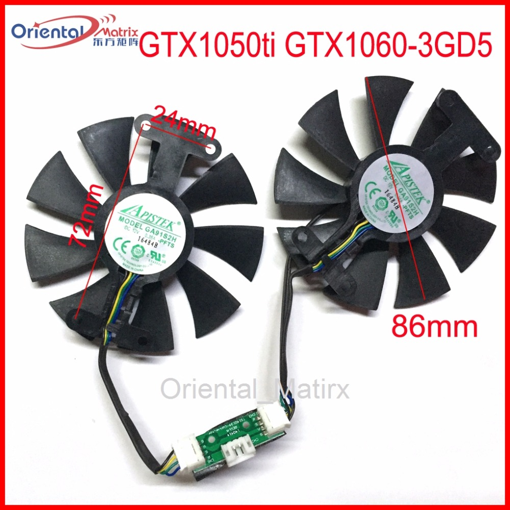Free Shipping 2pcs/Lot GA91S2H 12V 0.35A 4Pin 86mm VGA Fan For ZOTAC GTX1050ti GTX1060-3GD5 Graphics Card Cooler Cooling Fan 2016 fashion kids boys clothing set spring autumn children gentleman set long sleeve plaid shirts t shirt jeans baby boy clothes