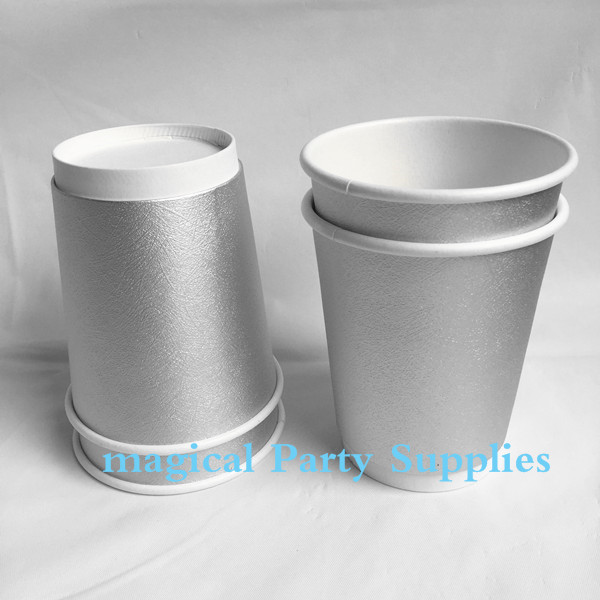 Christmas Party Favor 50pcs Solid Silver Paper <font><b>Cups</b></font> 2-layer Insulated Solo <font><b>Cup</b></font> 280ml <font><b>Disposable</b></font> <font><b>Beer</b></font> party Bar Drinking <font><b>Cup</b></font> image