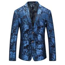 Loldeal  Mens Velvet Blazers Red Blue Gold Blazer For Men 5XL Wedding Prom Party Suit Jacket Floral Swallowtail dress