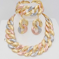 Hight quality Exaggerated necklace jewelry sets african beads wedding jewelry dubai gold jewelry sets for women hoop earrings