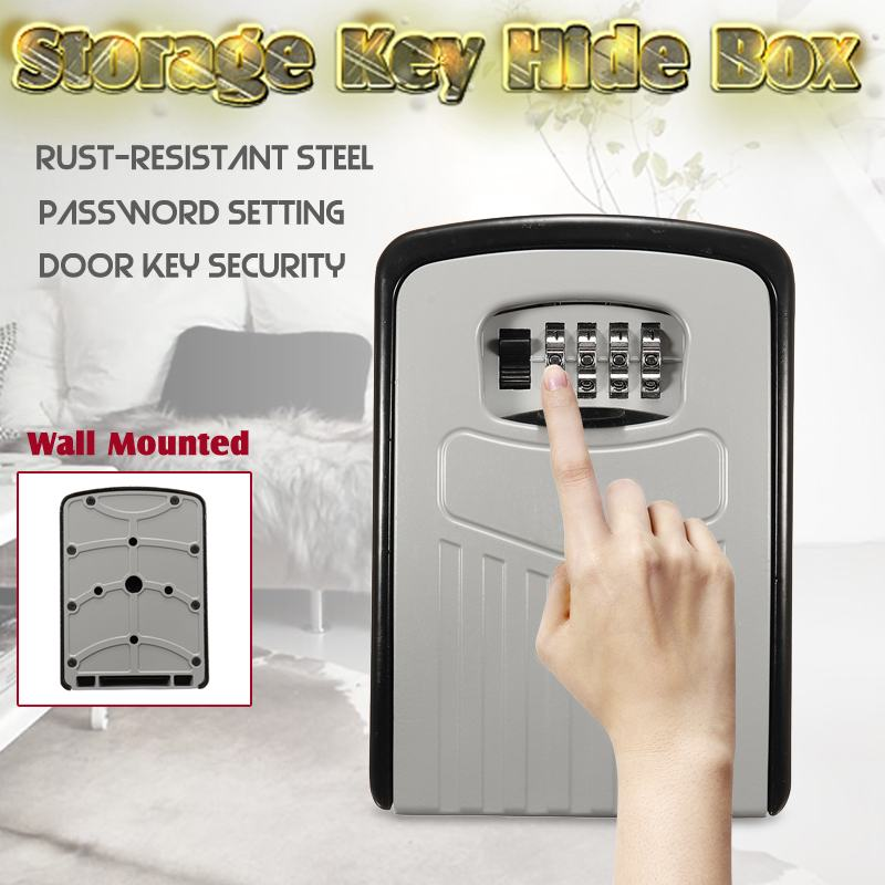 Safurance Big Key Safe Box Outdoor Key Lock Box Aluminium Wall Mounted Waterproof 4 Digit Combination Password