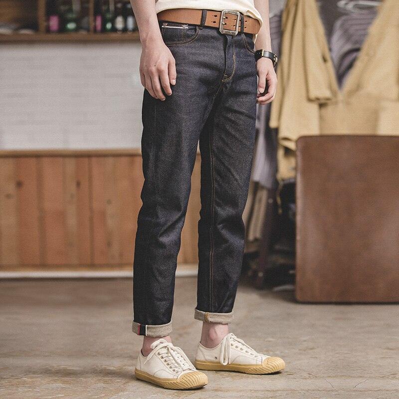MADEN Men's Vintage Regular Straight Fit Unwashed Raw Selvedge Denim Jeans