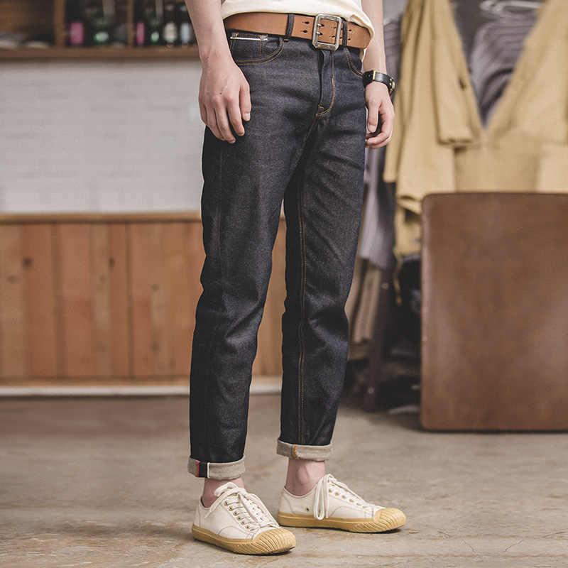 MADEN erkek Vintage düzenli düz Fit yıkanmamış ham Selvedge Denim kot