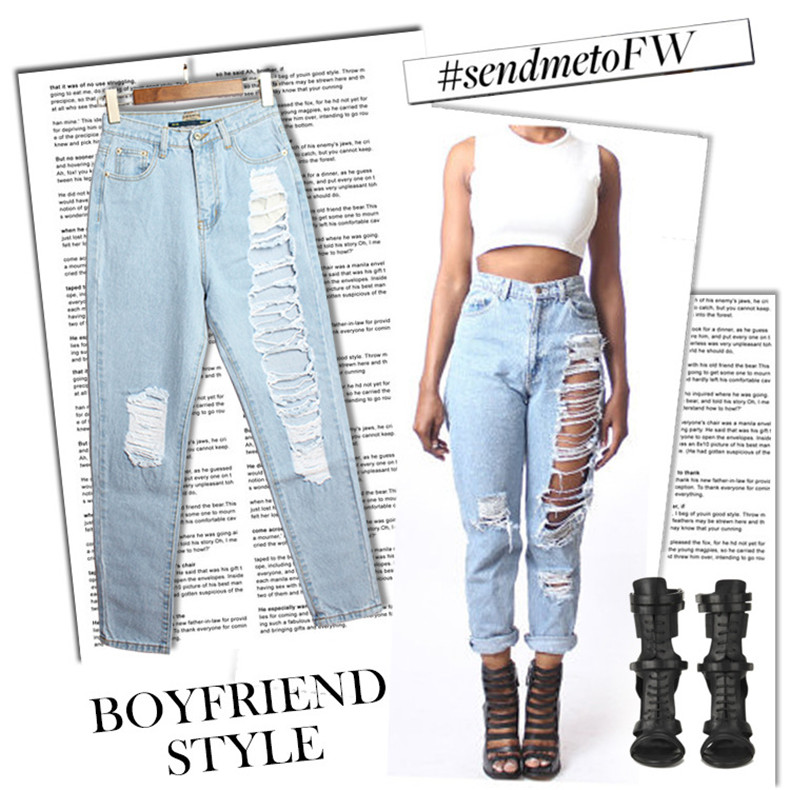 ФОТО Ripped Cross-pants Jeans Woman Casual Loose Vintage Harem Denim Pants with Hole Boyfriend Jeans for Women Size 34-44 SL022