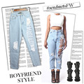 Ripped Cross-pants Jeans Woman Casual Loose Vintage Harem Denim Pants with Hole Boyfriend Jeans for Women Size 34-44 SL022