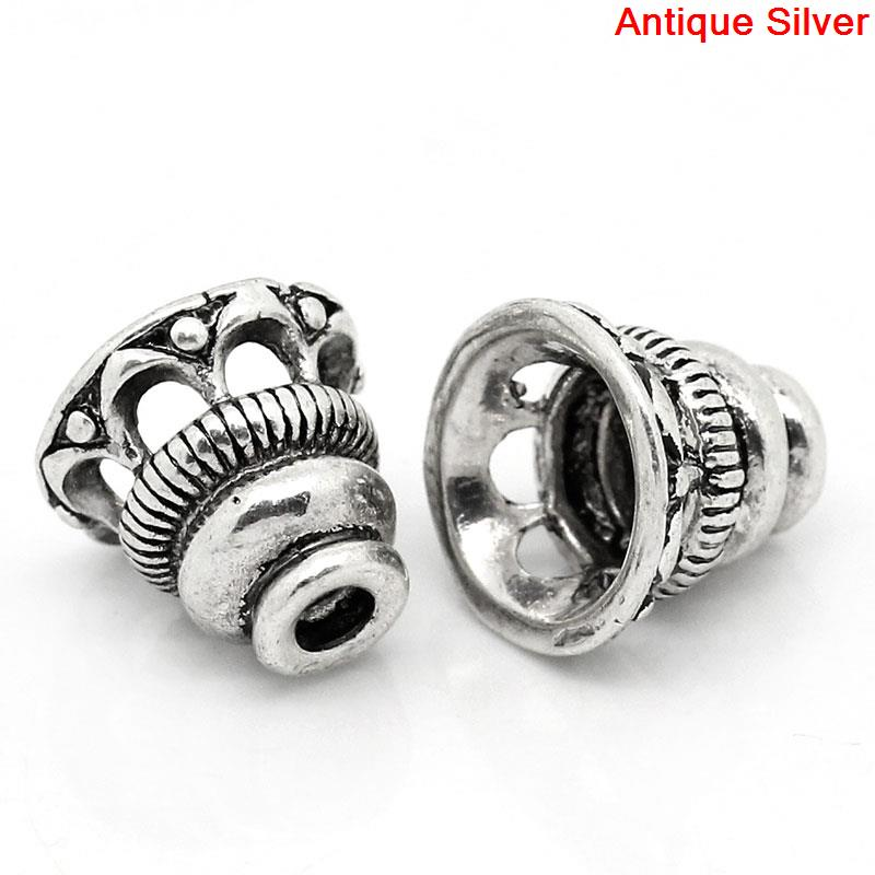 Copper Beads Caps Tower Antique Silver (Fits 18mm Beads) 10mm( 3/8