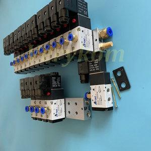 Image 4 - Multi 2 ~ 20 Row 3V210 08 Electromagnetic Solenoid Valve Block With Muffler Fitting Base Manifold DC 12v 24v AC 110v 220v 3 port