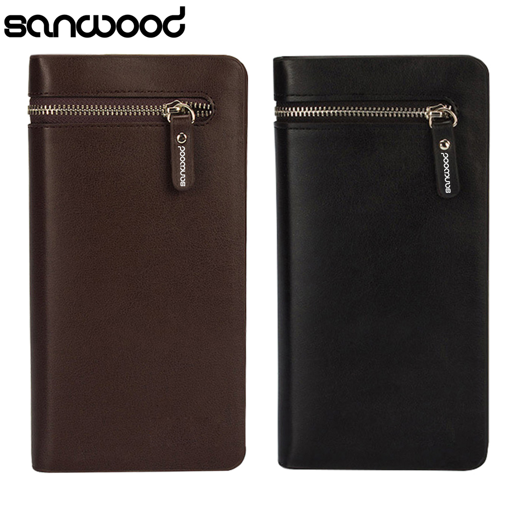 2015 Men's Faux Leather Zip Long Wallet Purse Card Holder Checkbook Clutch 6O4K thinkthendo women leather card phone holder long arrow wallet checkbook tassel handbag purse