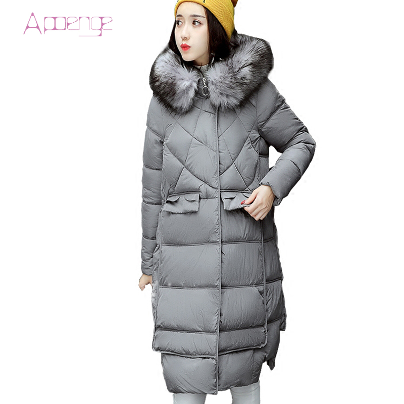 APOENGE 2017 New Women Jackets With Hooded Thicker Warm Overcoats Female Long Padded Cotton Coats With Fur Collar Parkas LZ476 carnival fashion simple couple watch men women quartz wristwatches ceramic waterproof calendar lovers watches relogio masculino