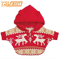 0 3yrs Baby Boys Girls Knitted Sweaters Cotton Christmas Deer Hooded Cloak New 2017 Children Clothing