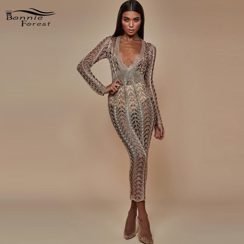 Bonnie Forest Hand-Made Sparkle Sexy Open Back Choker Neck Sequins Dress  Glitter Side Slit Diamond Party Dress Nightclub VestidoUSD 44.08 piece 270705fc8
