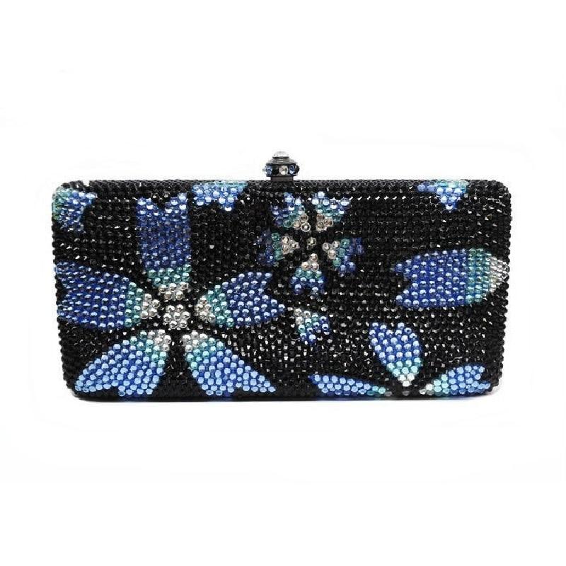 ФОТО 7764-flower Crystal Floral Lady fashion Bridal Party Metal Evening purse clutch bag case box handbag