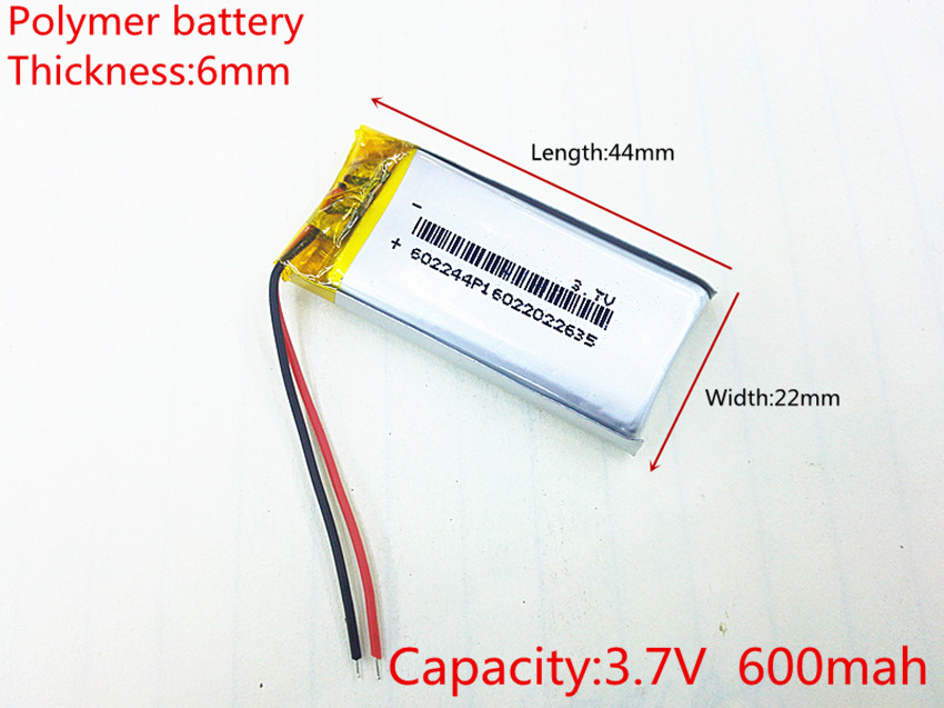 Free shipping Polymer battery 600 mah 3.7 V 602244 smart home MP3 speakers Li-ion battery for dvr,GPS,mp3,mp4,cell phone,speaker 3 line 3 7 v 4000 mah tablet battery gm lithium polymer battery 359095 li ion battery for mp3 mp4