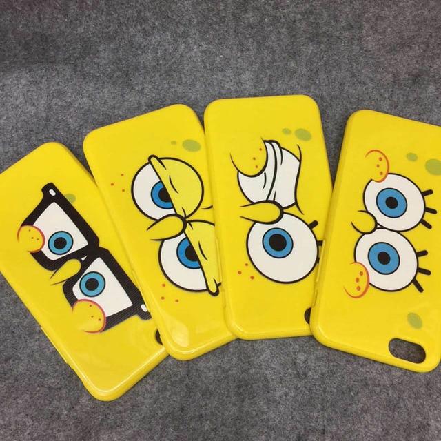 Cute Big Eyes Spongebob Soft Gel Tpu Back Cover Capa Para Funda