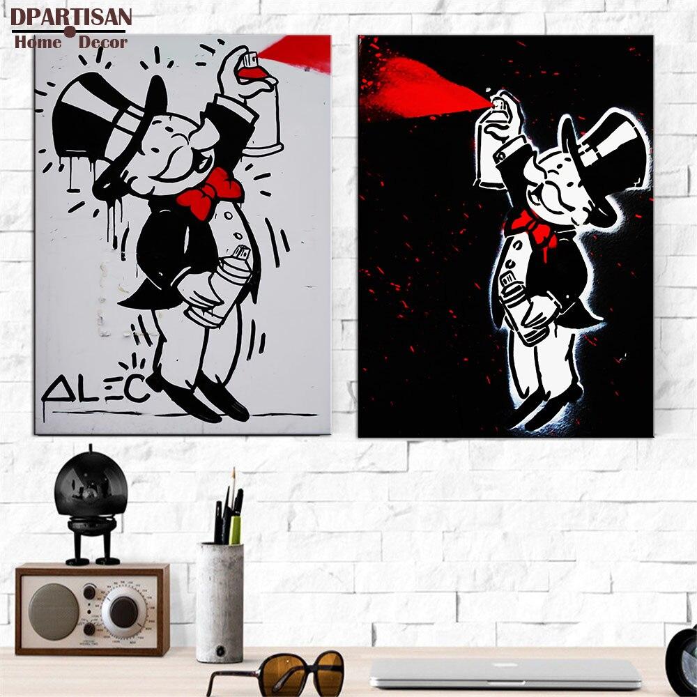 Grafitti art kopen - Oude Man Made Verf Alec Monopoly Graffiti Art Print Canvas Voor Muur Decoratie Olieverf Muur Painting