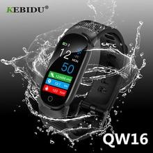 KEBIDU QW16 นาฬิกาสมาร์ทกีฬาฟิตเนสกิจกรรม Heart Rate Tracker ความดันโลหิตนาฬิกาข้อมือสมาร์ทนาฬิกาสำหรับ Android SmartWatch