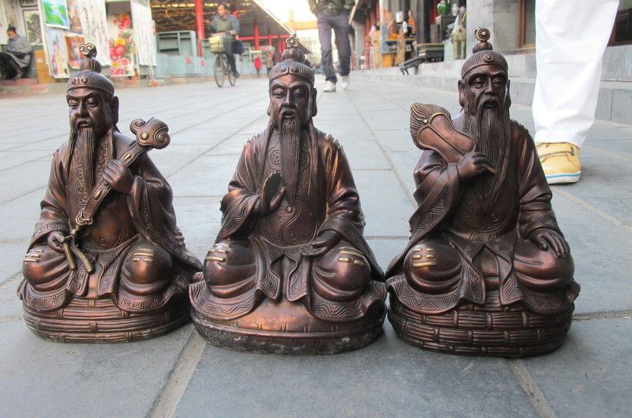 Chinese Folk Red Bronze Three Qing Taoism Taoist Classic Buddha statue SetChinese Folk Red Bronze Three Qing Taoism Taoist Classic Buddha statue Set