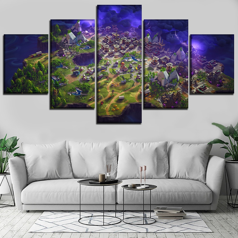 5 pieces fortnite role painting game poster for modern - Modern wall decor for living room ...