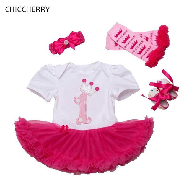 Кронпринцесса 1 Года Ребенок День Рождения Dress 4 шт. Симпатичные Малышей кружева Пачки Набор Оголовье и Вязаные Гамаши Обувь Платье Bebe Партия наряды