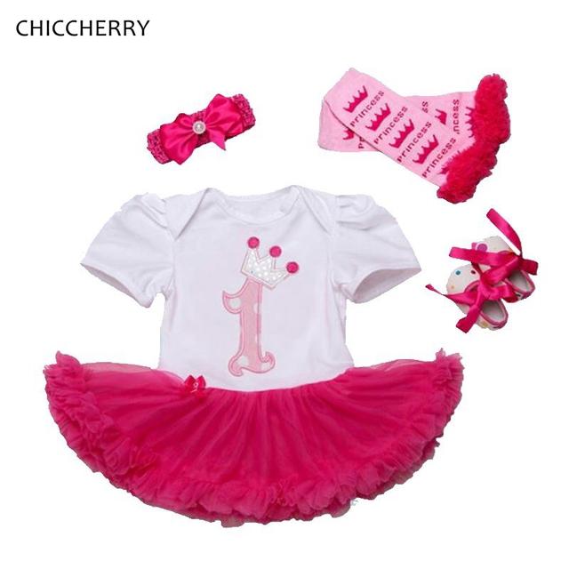 Corona de la princesa de 1 años bebé birthday dress 4 unids niño lindo Zapatos de encaje Tutu Set Diadema y Calentadores Partido Vestido Bebe trajes