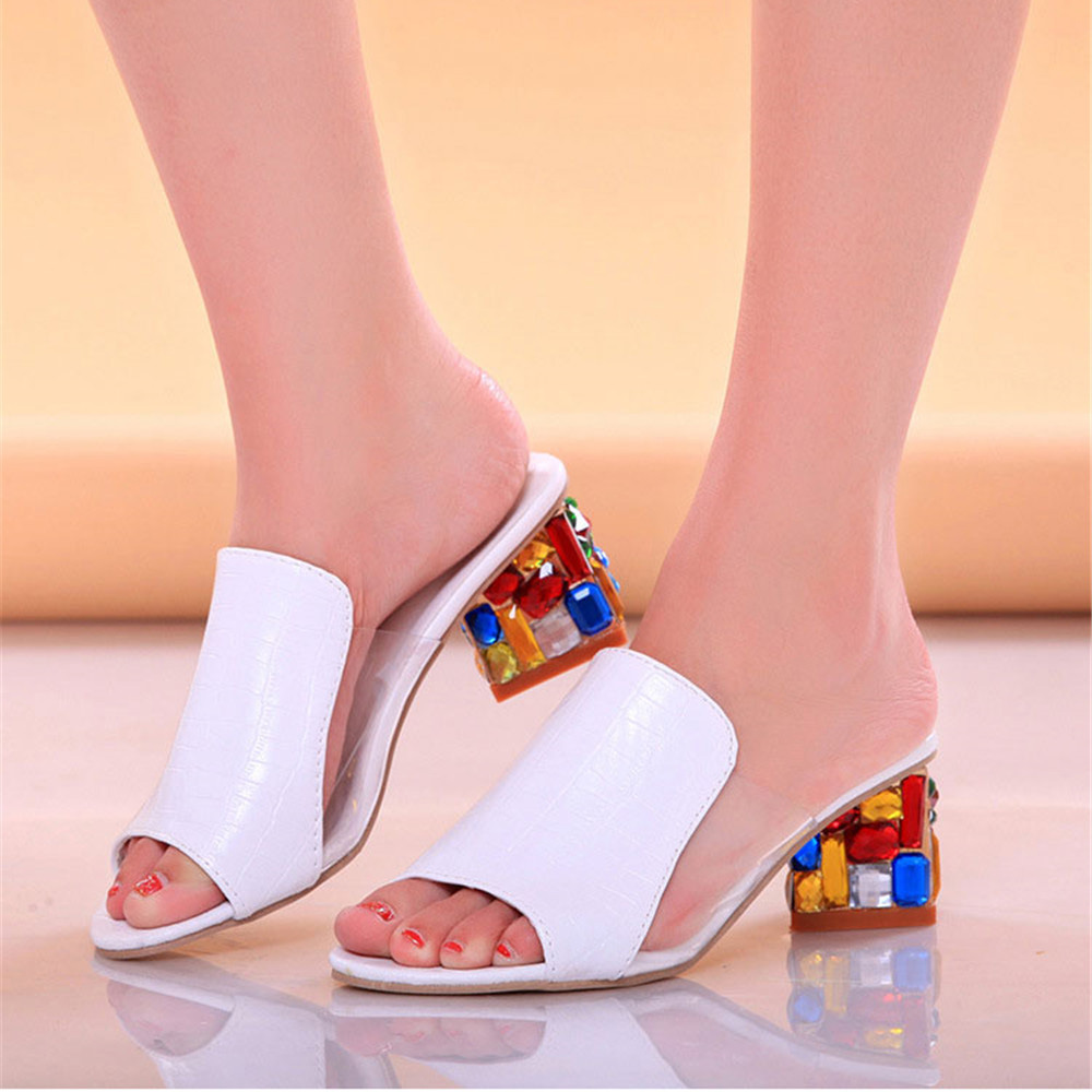 Women's Sandals Shoes Casual crystal Rubber middle thick heel rhinestones overshoe breathable, wear resistant Summer female 3-5