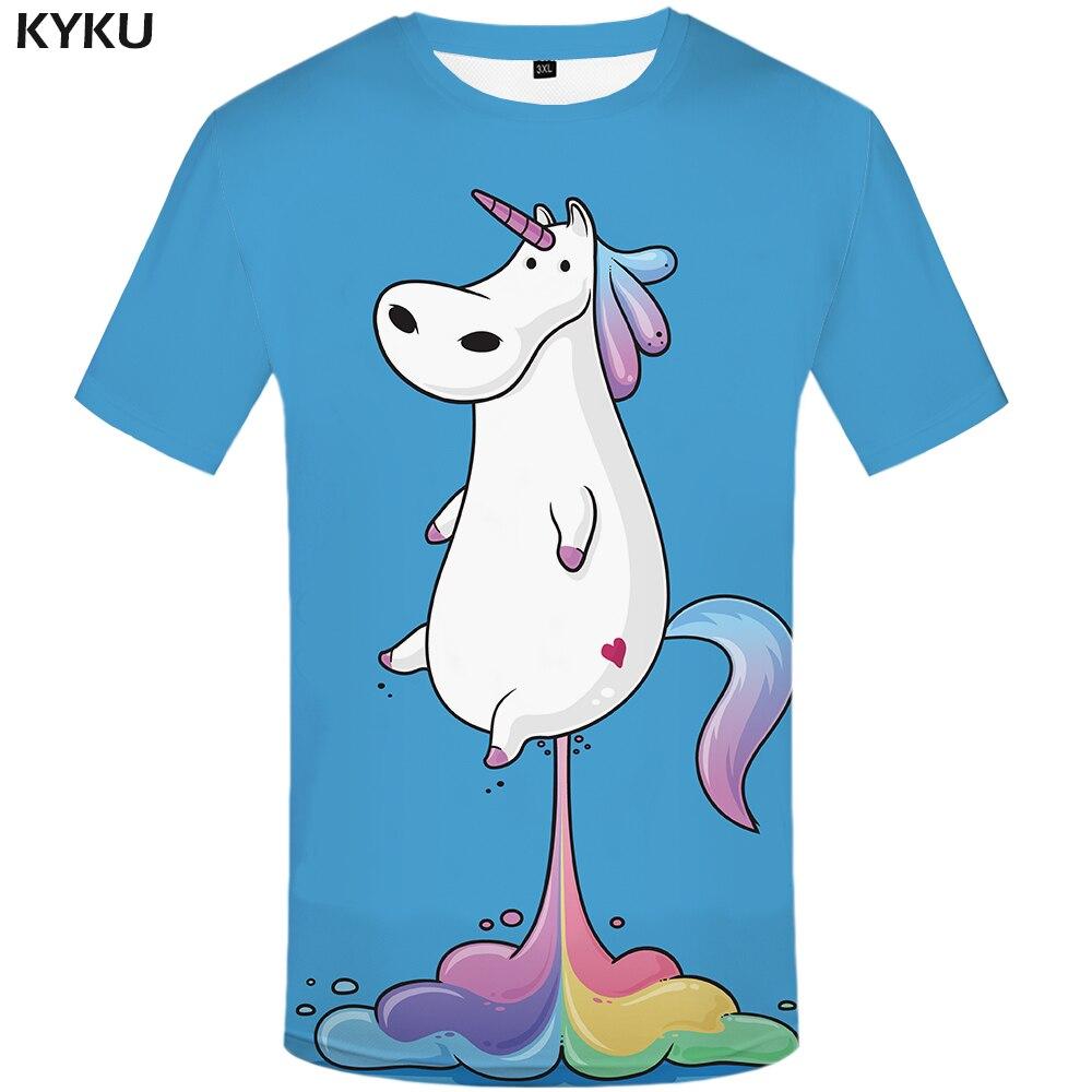 d370be7b KYKU Brand Unicorn Shirt Rainbow Blue Horse Funny T-shirt Women Short  Sleeve 3d Print Tshirt Summer Top Cool Clothing Hip Hop