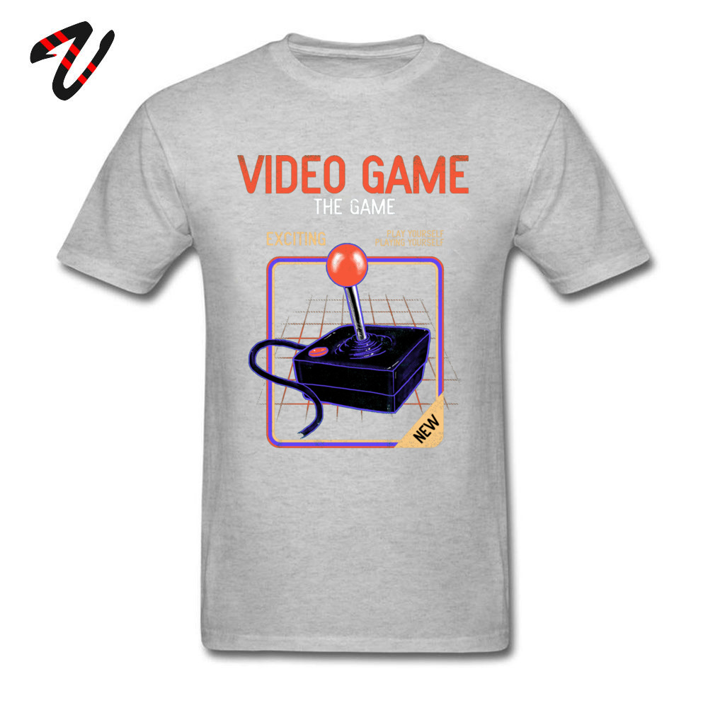 Fashionable Video Game _black T-Shirt for Men On Sale Thanksgiving Day Round Collar 100% Cotton Short Sleeve T-shirts Tee Shirts Video Game 21389 grey
