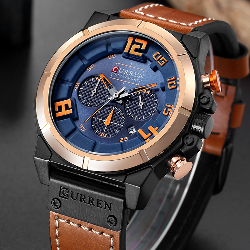 CURREN Fashion Brand Chronograph Sports Men Watches Military Analog Quartz Wrist Watches Genuine Leather Strap Male Clock