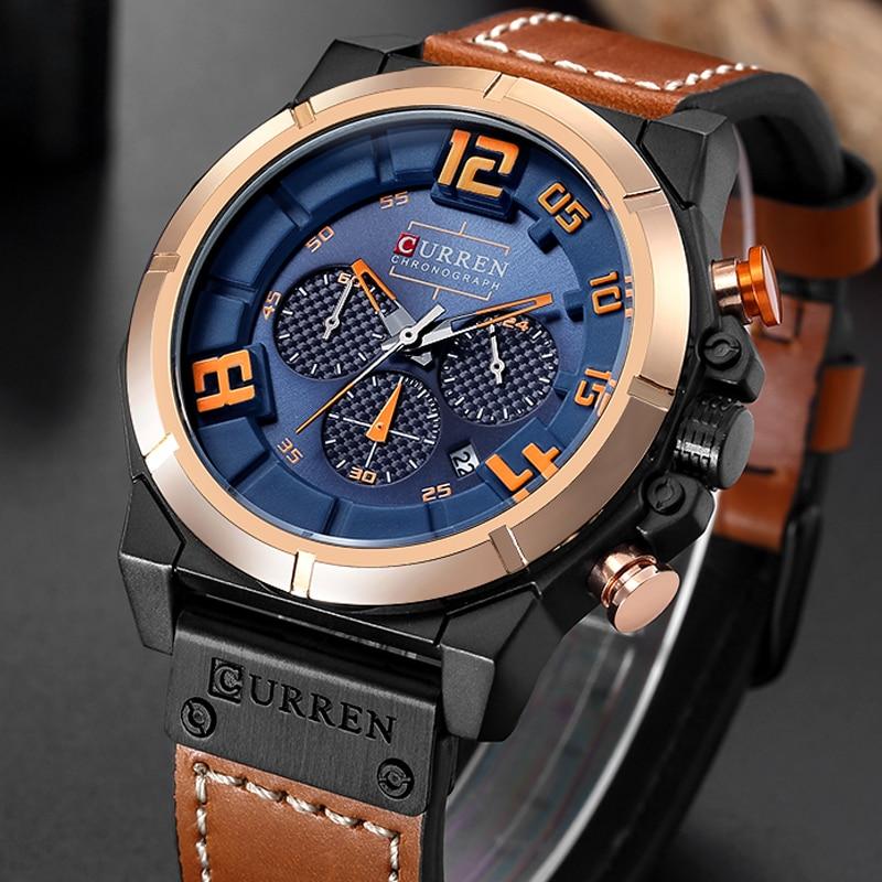 CURREN Fashion Brand Chronograph Sports Men Watches Military Analog Quartz Wrist Watches Genuine Leather Strap Male Clock