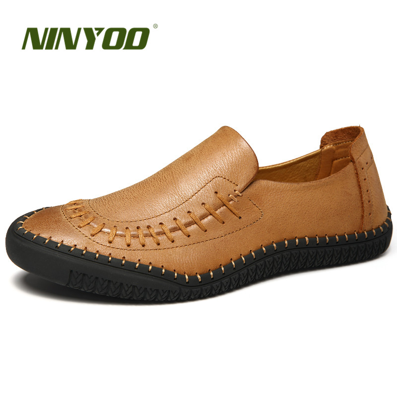 NINYOO New Handmade Men's Shoes 100% Genuine Leather Casual Shoes Breatherable Loafers Soft Rubber Slip on Flats Brand Shoes 44 merkmak handmade genuine leather men loafers soft shoes casual brand comfortable autumn winter warm fur slip on man flats shoes