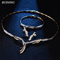 BUDONG Luxury Innfinity Bridal Jewelry Sets Wedding Necklace Earrings Bracelet For Brides Engagement Jewelry Women XUT809