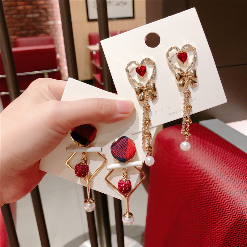 Korea Handmade Heart Crystal Pearl Women Drop Earrings Dangle Earrings Fashion Jewelry Accessories QQD5 in Drop Earrings from Jewelry Accessories