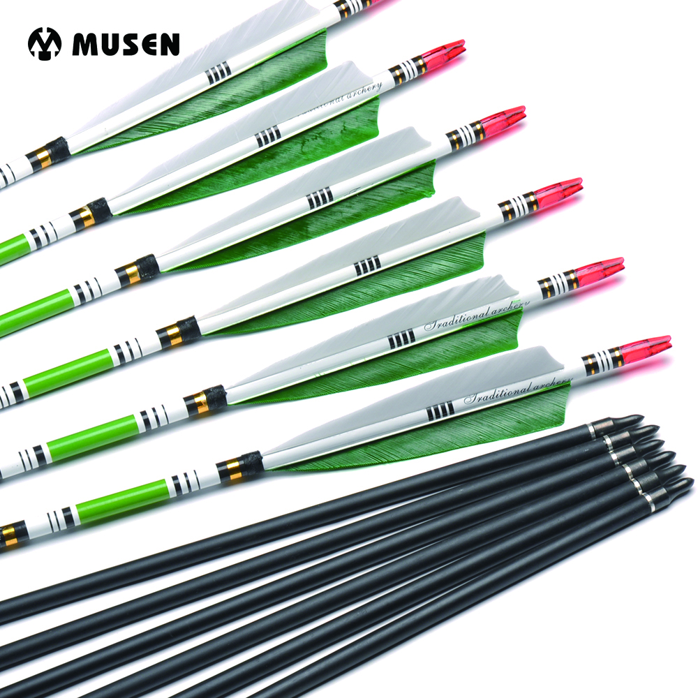 6/12/24pc Carbon-Arrow Recurve Bow Archery Hunting Id-6.2mm Green-Color Real-Feather