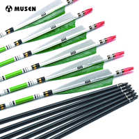 6/12/24pc 80cm/85cm Carbon Arrow Spine 500 OD 7.6mm ID 6.2mm Green Color Real Feather for Recurve Bow Archery Hunting Shooting