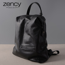 Zency Black Fashion Women Backpack Laptop 100% Real Cow Genuine Leather Schoolbag For Girl Female Travel Bag mochila mujer Bolsa