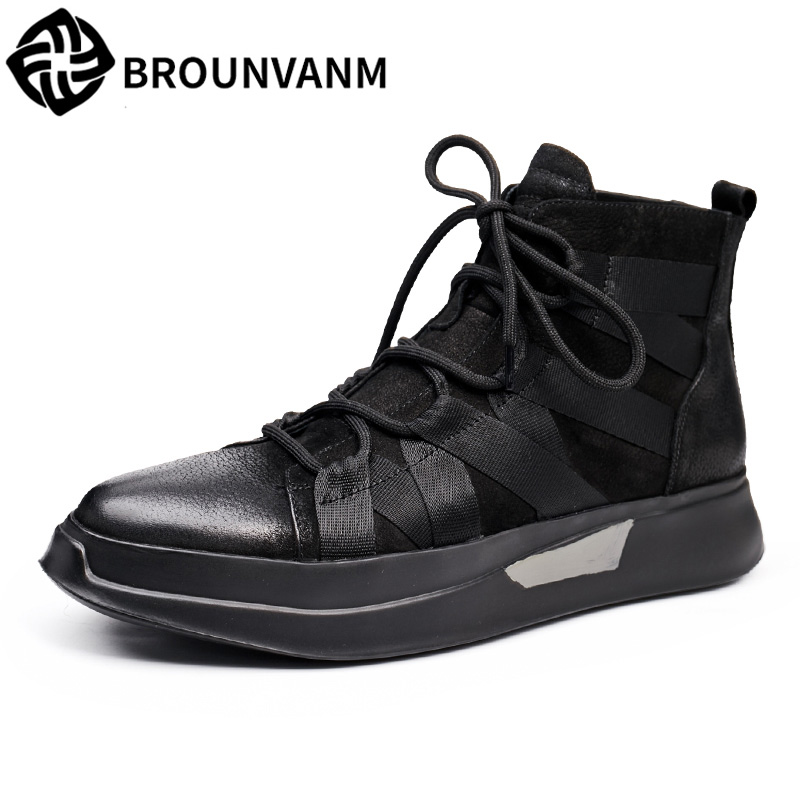 Mens shoes black nubuck leather shoes in autumn and winter leisure sports boots all-matc ...