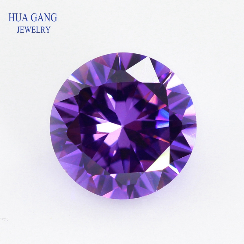 Size 0.8mm~10mm Purple Loose CZ Stone Round Shape Cubic Zirconia Stone