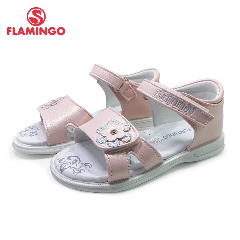 FLAMINGO 2019 Summer Kids Sandals Hook& Loop Flat Arched Design Chlid Casual Princess Shoes Size 22-27For Girls 91S-XDB-1308