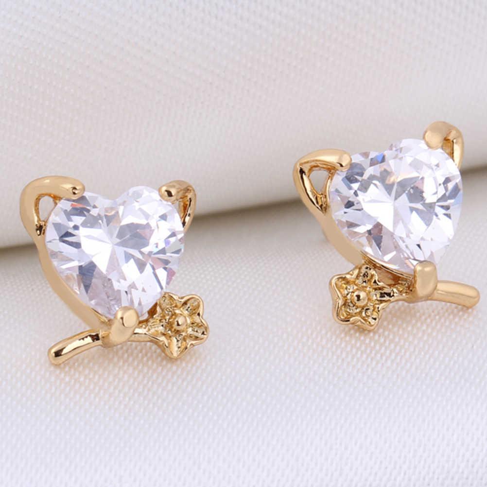 Pair of Heart Flower Style Women's Girls Zircon Decored Eardrop Earrings Ear Studs