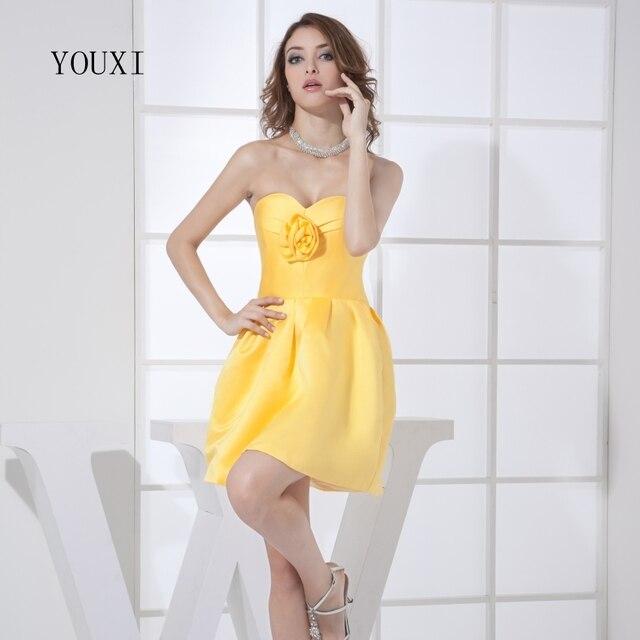 Sexy Schatz Mini Short Prom Dresses 2017 Gelb Ball Party Kleid Für ...