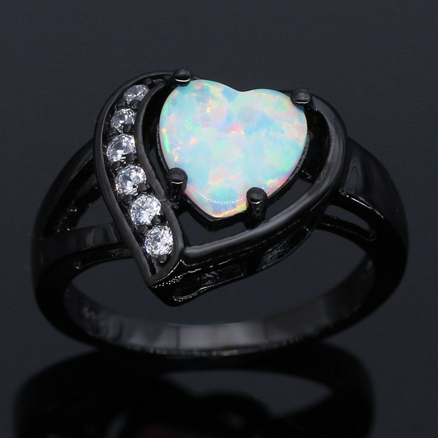 Heart Shaped Blue White Opal Ring AAA Cubic Zirconia Fashion Vintage Black Gun Wedding Women Opal Rings