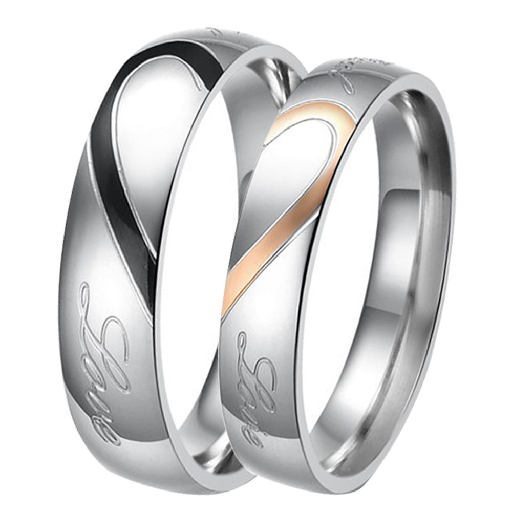 Soul Men Real Love Heart Stainless Steel Ring Valentine Love Couples Wedding Band 5mm Black for Men 4mm Rose Gold for Women