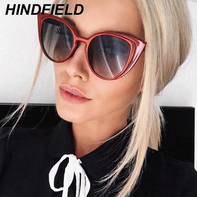 b3f2d64dd30a3 Moda Olho de Gato Óculos De Sol Das Mulheres Marca Designer Feminino  Vermelho Branco Óculos de
