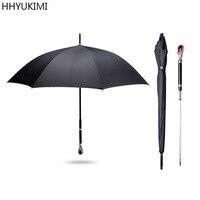 HHYUKIMI Ruby Long Handle Man Automatic Windproof Business Sword Warrior Self Defense Sunny Crystal Crafts High