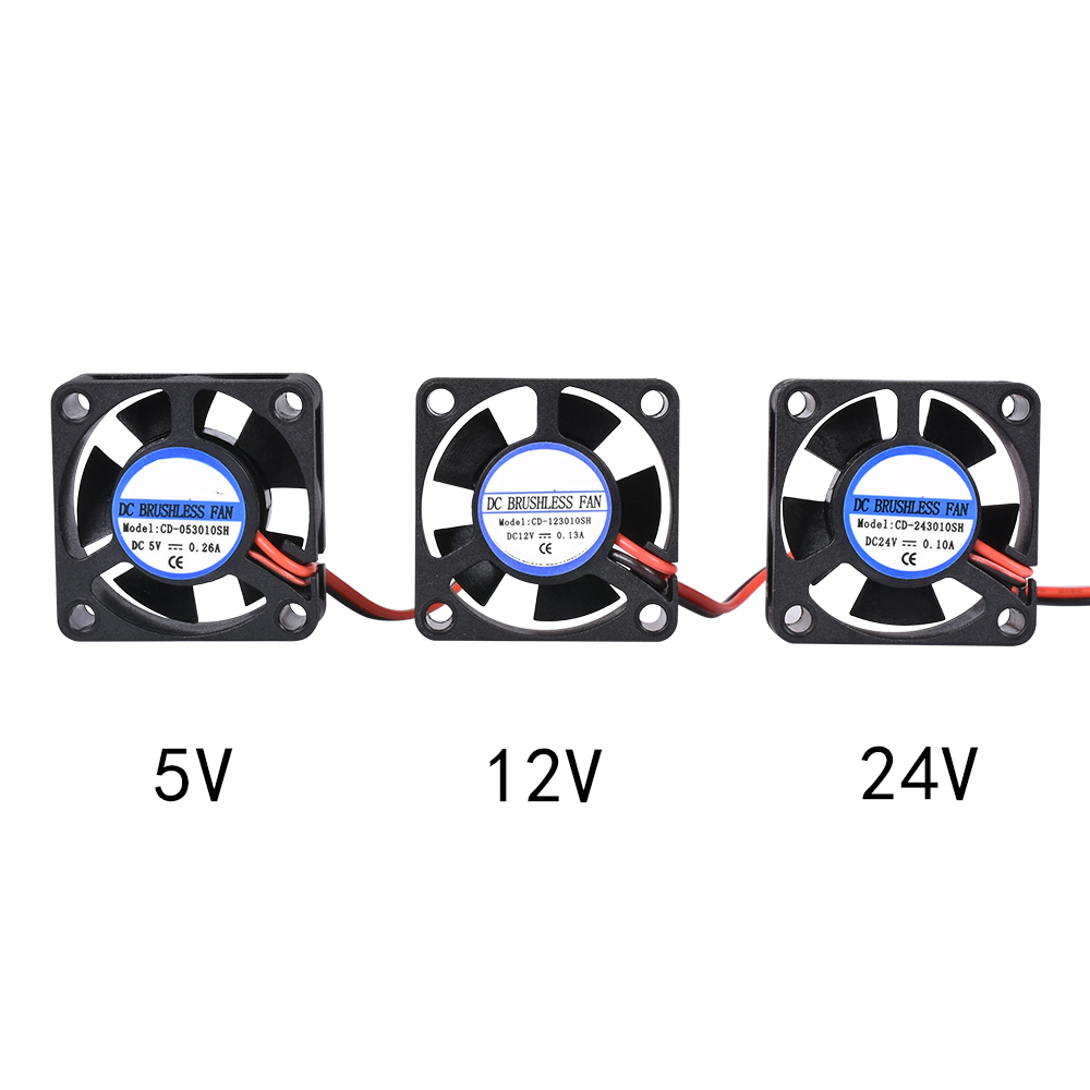 5pcs DIY Reprap DC 5V 12V 24V 2Pin Mini Cooling fan Brushless 3010 Fan 30MM 30x30x10mm Small Exhaust Fan for 3d printer parts 1set cooling fan 3010 12v 30x30x10mm with injection moulded fan duct cooling fan 5 blades for 3d printer extruder v6