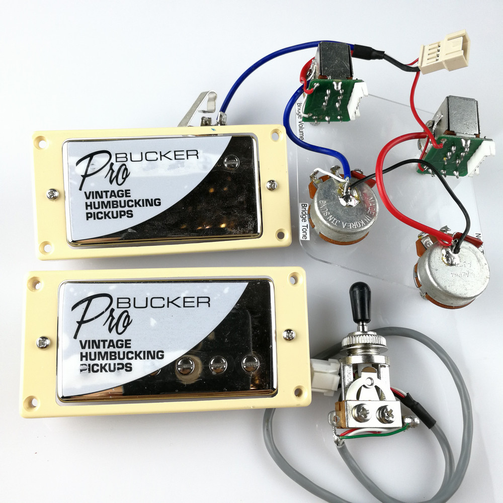 1 Set Chrome LP Standard ProBucker N et B guitare électrique Humbucker micros avec faisceau de câbles Pro pour couvercle EPI argent