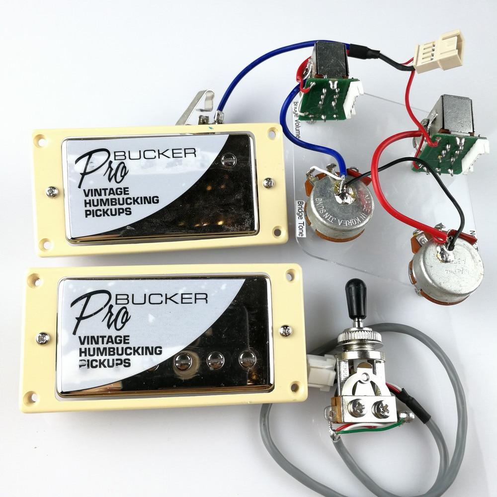 1 Unidades juego cromado LP estándar ProBucker N y B guitarra eléctrica Humbucker pastillas con arnés de cableado profesional para la cubierta de plata de epinefrina