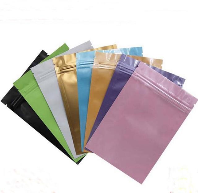 Pink Gold Green Black Color Metallic Mylar Ziplock Bags Flat Bottom Aluminum