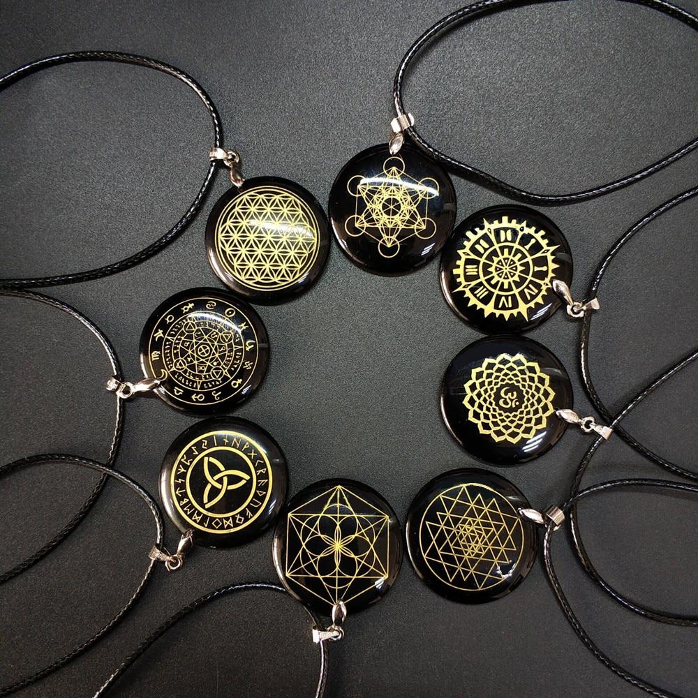 Natural obsidian necklace pendant flower of life Magic circle divination sri yantra Triqueta metatrone's cube Multi-dimensiona