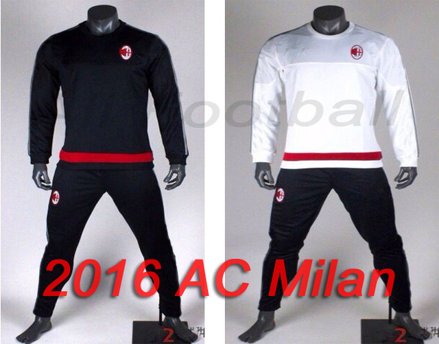 50be4a52ee2 Top quality 15 16 ac milan tracksuit 2016 survetement football ac milan  soccer training suit milan football uniforms